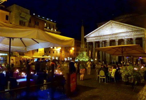 Nightlife outside the Pantheon in Rome