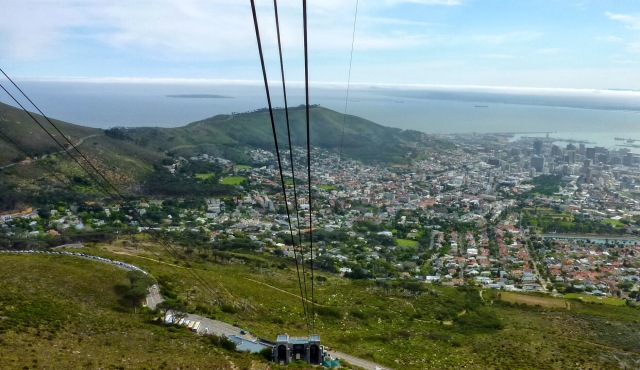 Going up Table Mountain on the Cableway