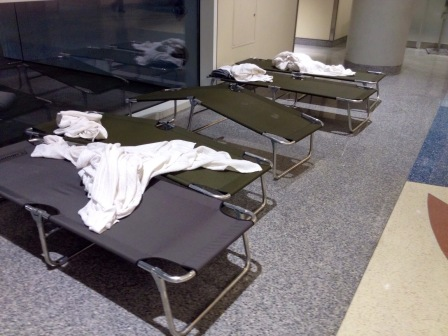 Cots in Terminal at DFW